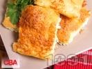 Рецепта Пухкава баница от готови точени кори с газирана вода, сирене, топено сирене и кашкавал
